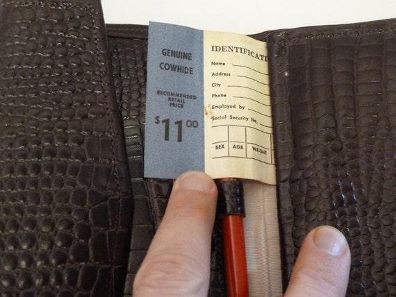 with original faux cards in sleeves Vintage Suede Cowhide Purse unused