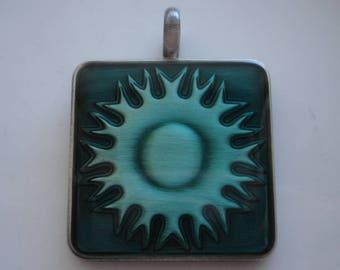 Pewter pendants etsy pewter epoxy pendant turquoise sunburst design 45x35mm destash pendants jewelry making supplies pewter pendant aloadofball Images