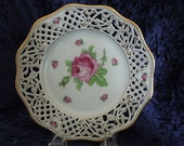 Vintage Dresden Plate Flowers Reticulated Roses Meissen Wedding Anniversary Birthday Christmas Gift for Her