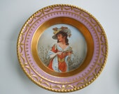 KPM Cabinet Plate Kurland Portrait Young Lady Period Dress Artist Signed 1 Wedding Anniversary Birthday Bridal Gift Collector