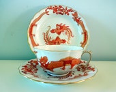 Antique Meissen Red Ming Dragon Cup Saucer Plate Trio Scalloped Gilded 320510 Wedding Anniversary Birthday Bridal Shower Collector Gift