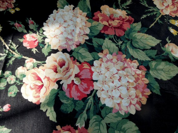 Vintage Fabric Large Flowers Adriana Floral Cyrus Clark Cotton