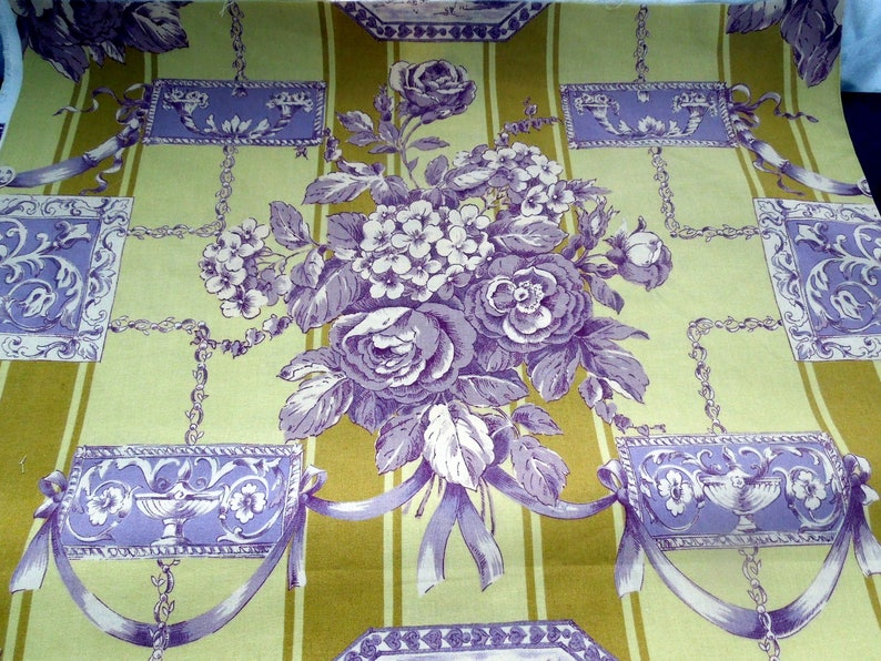 """Floral Print Cotton Linen Fabric Violet Pink Yellow 54/""""W Upholstery BTY Natural"""