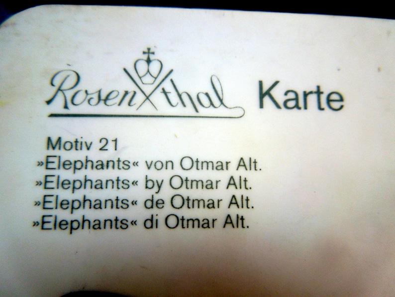 Rosenthal Ceramic Card Karte Germany Elephants Otmar Alt Design Greetings  on Porcelain 6 34 x 4 12 Postcard Post Card Gift Vintage