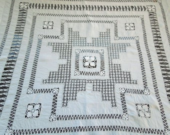 Nanduti Tenerife Lace Tablecloth Topper Mitered Corners Drawnwork Hem Anniversary Birthday Bridal Collector Gift Vintage