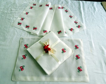 9 Piece Linen Set Belgium Hand Embroidered Strawberry Placemats Napkins Table Runner Wedding Anniversary Birthday Bridal Christmas Gift