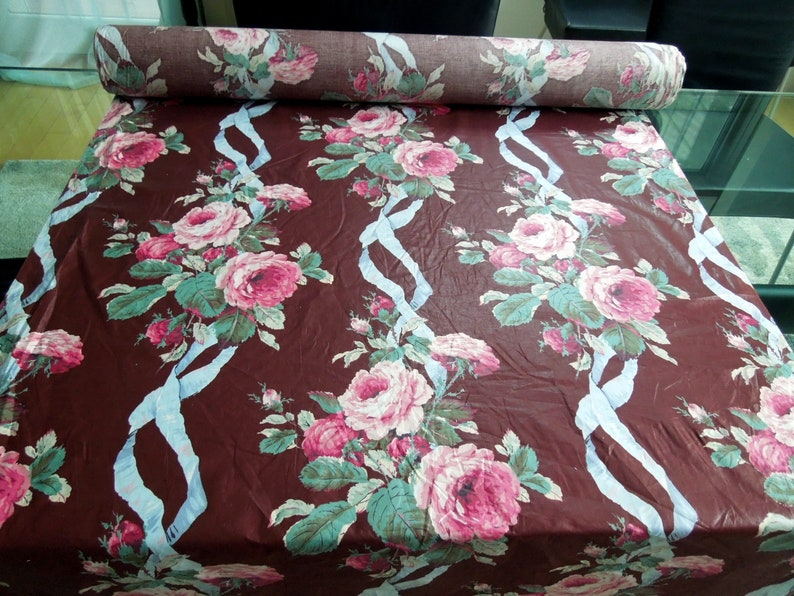Vintage Floral Chintz Fabric Polished Glam Maroon Pink Cabbage image 0