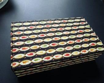 "Custom Box Fabric Covered FALL Theme Boudoir Dresser Rectangular Storage Mementos 9"" x 5"" x 2 1/4""  Wedding Anniversary Birthday Bridal Gift"
