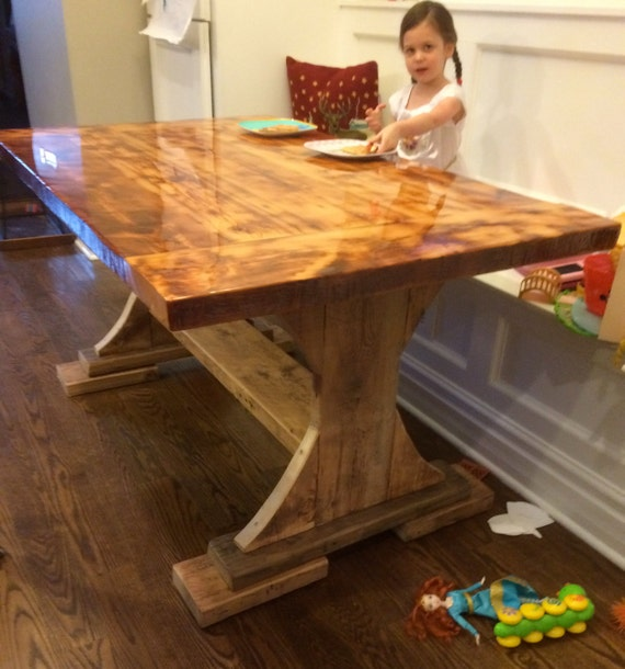 Barnwood Kitchen Table - bar top epoxy - great for kids! Nearly  indestructible