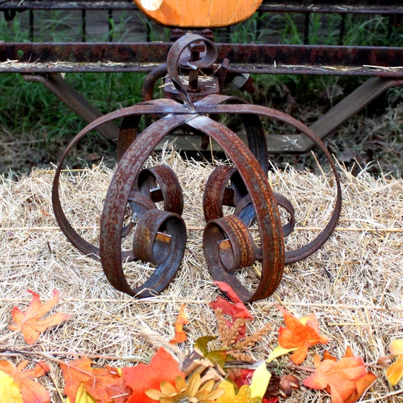 "12"" X 9"" Hand Made Rustic Metal Pumpkin (size varies slightly)"