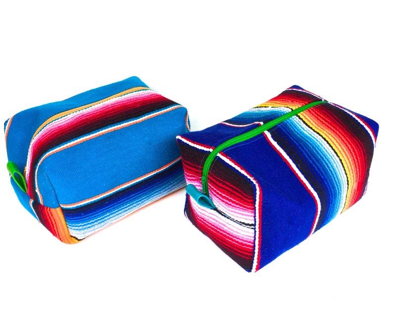 a9cb9e4c6bc0 Serape Stand up Makeup Bag Mexico Serape Boxy Zip Cosmetics