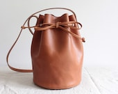 brown leather bucket bag round leather bucket bag leather tote bag leather purse vegetable tanned leather tote minimal