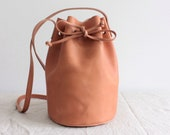 camel brown leather bucket bag round leather bucket bag leather tote bag leather purse vegetable tanned leather tote minimal