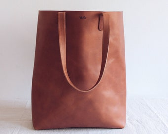 5ecdd6dc1c cognac brown leather tote    leather tote bag    leather purse    vegetable  tanned leather tote    minimal