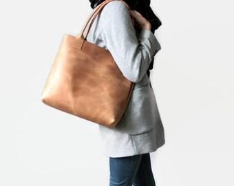 Leder Shopper, Tote Bag, Leder Tasche