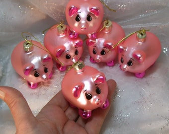 Happy lucky pink Pigs Christmas Glass Ornament Miss Piggy 1-6 Figures Vintage German Tree New Year decoration mouth- hand-blown gift SALE