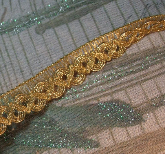 "Antique vintage gold metallic ribbon braid lace trim loops lamp shade 1-1//8/"" BTY"