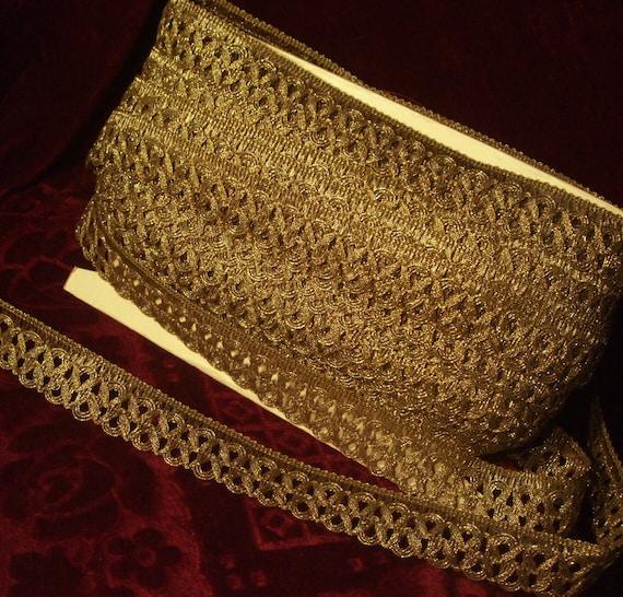 "Antique vintage gold metallic metal lace trim ribbon braid for lampshade 1/"" WIDE"