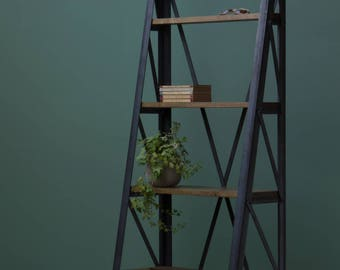 Industrial Steps Bookcase Oak Steel Shelving Bookshelf Shelf Shelves Ladder Bespoke Sizes