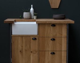 Konk ‖ Industrial Belfast Sink Unit ‖ Bespoke sizes available ‖ Solid Oak Kitchen Cupboard with Drawers