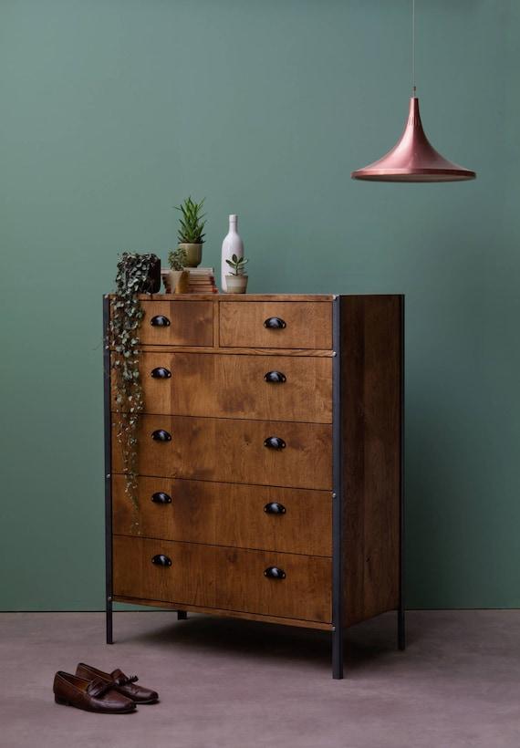 Konk Industrial Dresser Solid Oak Bedroom Furniture Six Etsy