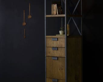 Konk ‖ Industrial Filing Cabinet ‖ Bespoke sizes available ‖ Oak & Steel Bookcase with Drawers, Tall Shelf with Storage