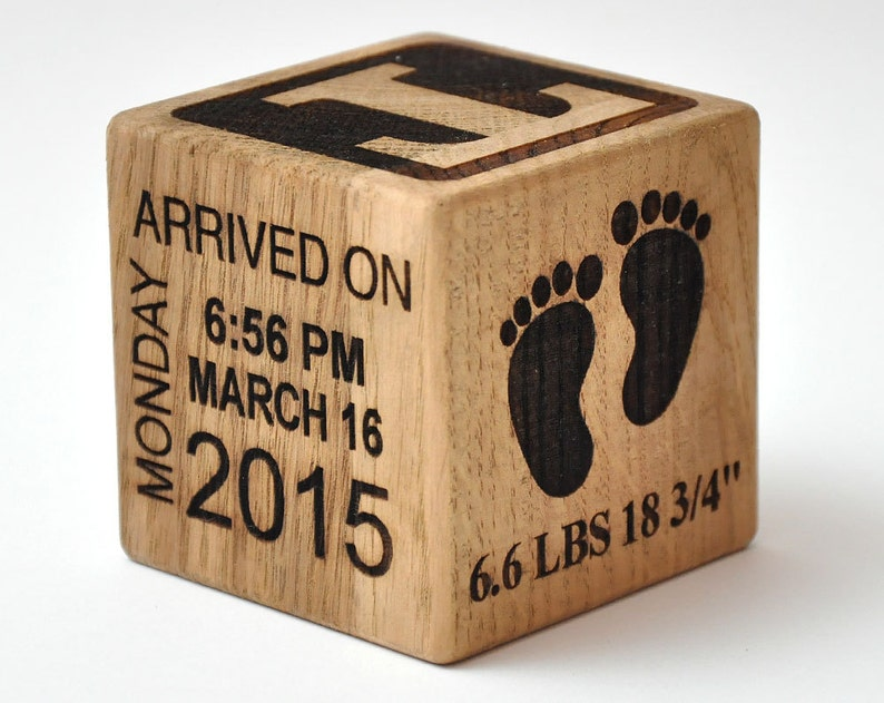 Personalized Wooden Baby Block Gift Engraved It's A Girl image 0
