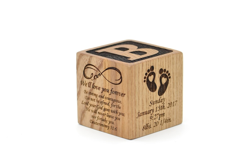 Personalized Wooden Baby Block Gift Engraved Baby Shower Baby Keepsake Newborn Cube First Alphabet Nursery Decor Gift Blocks Block New