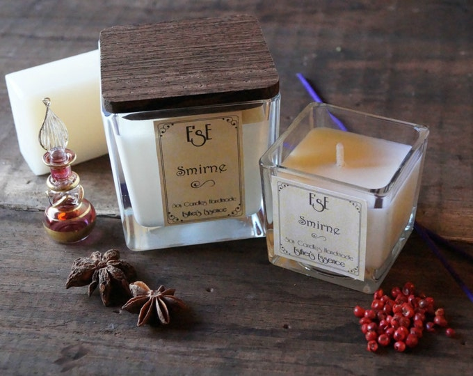 Soy Candle Myrrh Frankincense, Smirne 7oz / 4oz, Handpoured, Jar glass, Eco Friendly, Wedding, Aromatherapy, Spiced scent, Spice Candle