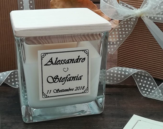 Wedding Candle 7oz, Personalized favors, Custom Fragrance and label, Glass jar, Scented Candle, Favors candles, Luxury Gift witness