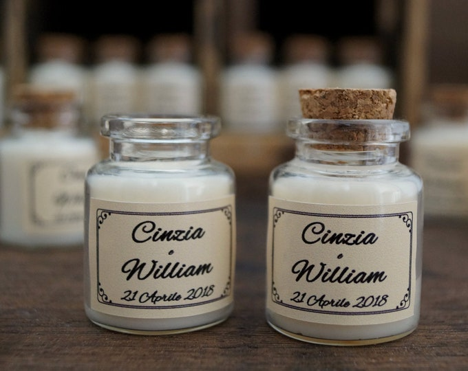 Wedding Placeholder Soy wax scented glass flasks Personal Label and scent Custom Place holder Mini Bottle Custom label Vegan Bio