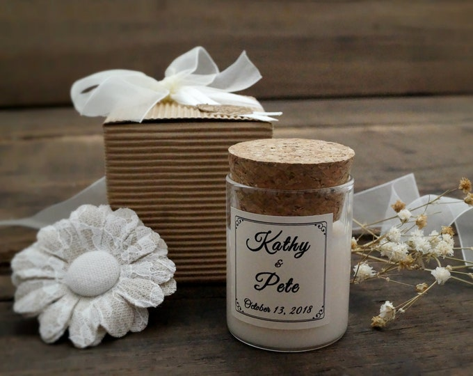 Shabby Lid cork candle, Wedding Favors personalized, Custom label, Scented Candle, Favors candles, country wedding, Baby shower, cheap favor