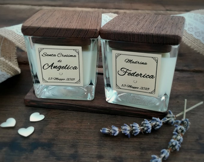 Set Wedding Candle 4oz, Wooden tray, Personalized, wedding's witness, Wedding favors, Favors bridesmaid, Personalized bridal shower