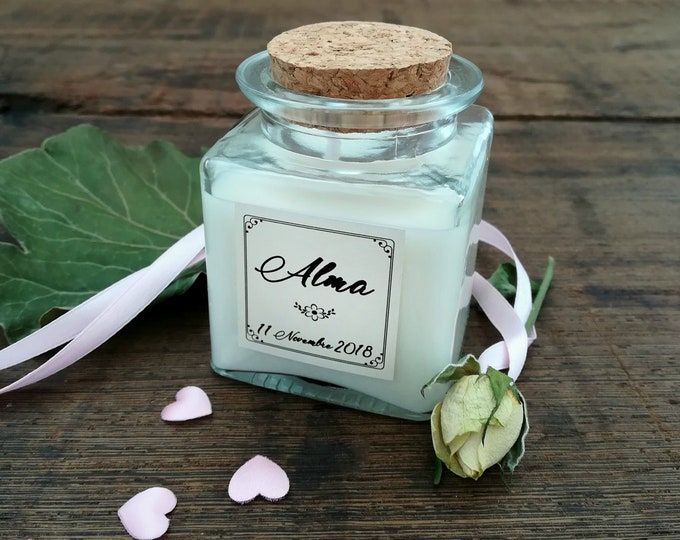 Wedding Favors Boho candle 4oz, Lid cork, personalized, Baptism, Christening, Ceremony, Shabby chic bride, gift for guests, Summer wedding