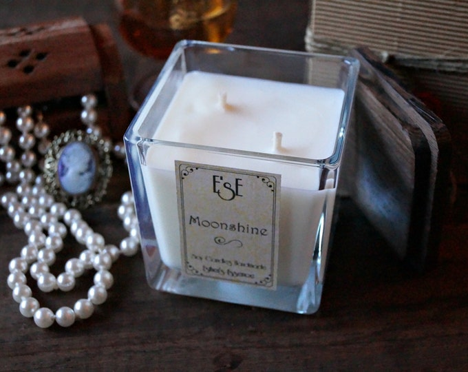 Soy Candle, Cedarwood Vetiver, Moonshine, 7oz / 4 oz Candle for him Jar glass, Gift for man, Natural scented, Essential oil, Handmade, Soy