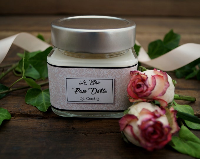 Scented candle rose, patchouli and jasmine, elegant candle, glass jar with lid, refined gift, floral perfume, inauguration, gift boss, bio