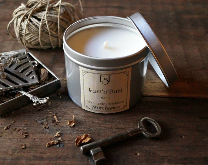 Soy Candle, Patchouli Ginger Cumin, Lust'n'Dust, Tin candle, Scented Candle, Gift for him, Candles for men, Luxury, Spiced