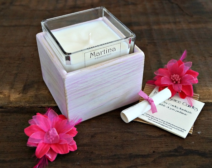 10 Baby Shower Favor Candles, 7oz, Personalized, Custom Fragrance and label, Wood box, Jar glass, Handmade, Soy wax, Home decor, Luxury