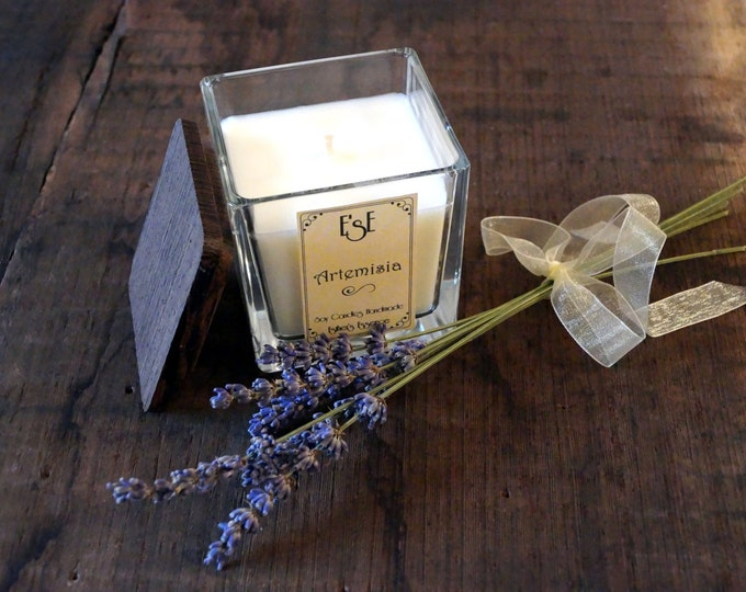 "Soy Candle, Lavender, ""Artemisia"", 7oz / 4oz, Oil essential, Gift Idea, Jar glass, Natural Scent, Favors, Home decor, Luxury candle, Wedding"