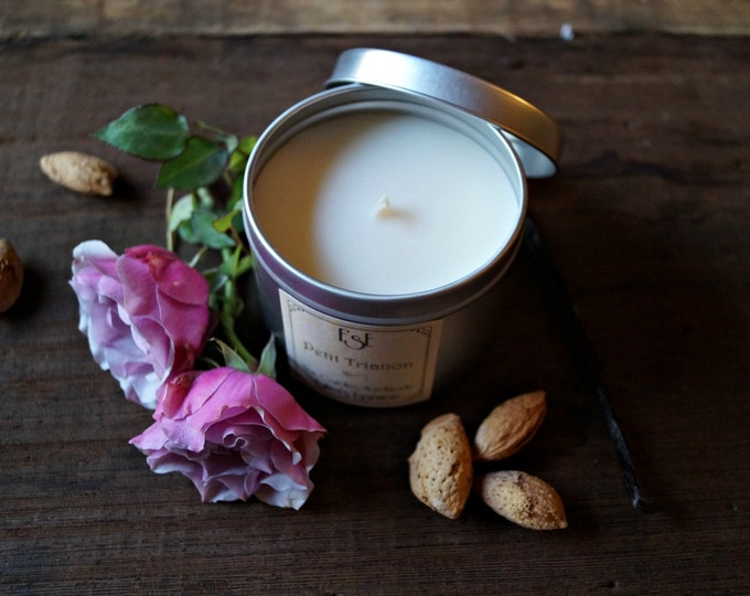 "Soy Candle, Vanilla Bourbon, Almond, Rose, ""Petit Trianon"", 6oz, Tin candle, Scented Candle, Bff gift, Natural, Luxury and romantic candle"