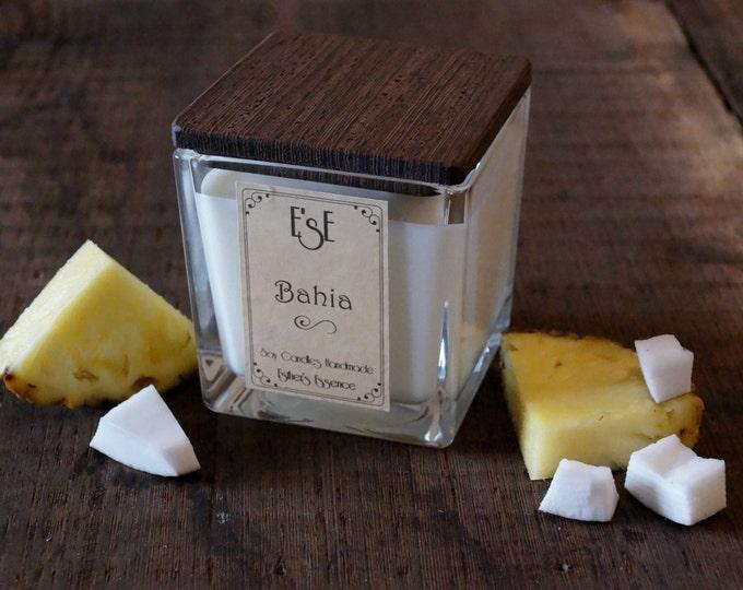 "Soy Candle, Coconut Pineapple, ""Bahia"", 7oz / 4oz, Exotic, Gift Idea, Jar glass, Fruity, Favors, Home decor, Luxury candle, Wedding"