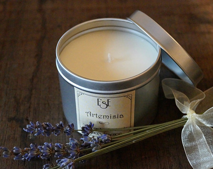 "Soy Candle 6oz, Lavender, ""Artemisia"", Tin candle, Scented Candle, Favor Candles, Home Decor, Natural Scent, Favors, Luxury candle, Wedding"