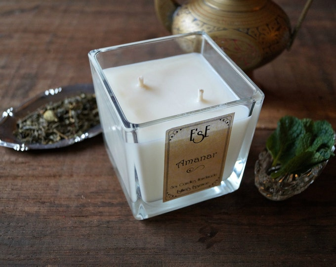 """Soy Candle, Green tea Mint, """"Amanar"""" 7oz / 4oz Oil essential, Jar glass, Natural scented, Gift for her, Handmade candle, jar candle, Vegan"""