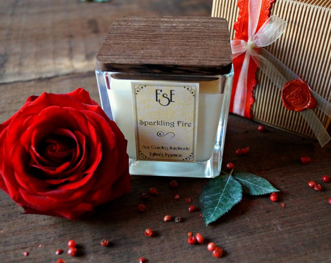 Soy Candle, Valentines day, Jasmine Bitter Orange, Sparkling Fire, 7oz 4oz, Romantic candle, Gift for her, Luxury, Scented candle, Love
