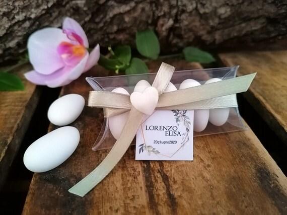 Almond confetti Ceremony tag birth it/'s a boy Wedding confetti Confettata baby shower transparent box baptism party it/'s a girl