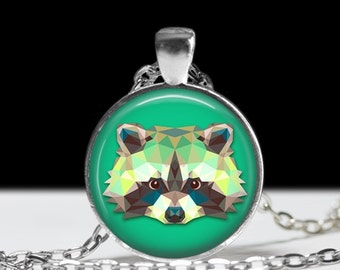 Racoon Necklace Racoon Pendant Wearable Art Jewelry Animal Necklace