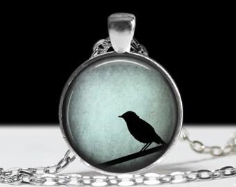 Bird Jewelry Blue Bird Pendant Wearable Birds on a Wire