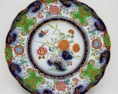 Antique Set of 4 Imari Chinoiserie Ironstone China Scalloped Flow Blue Plates Set of Four Antique Chinoiserie Plates Antique Dinnerware