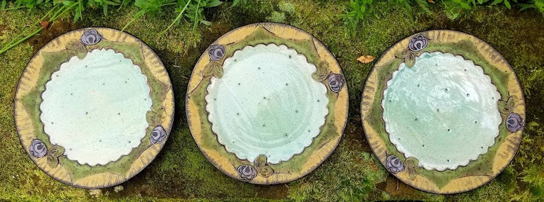 Vintage Set Of 3 Floral Mid Century Modern 12 Studio Pottery Charger Plate Signed Amy Sanders