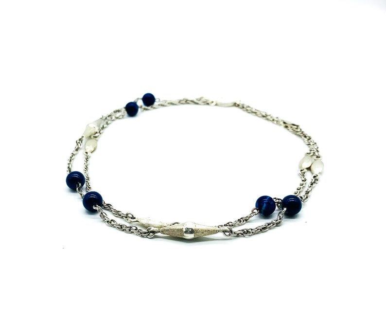 Antique Peruzzi Italy Sterling silver Ribbed Bead Lapis Lazuli Long Chain Necklace 30 Antique Peruzzi Chain Necklace Peruzzi Lapis Lazuli